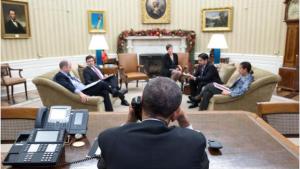 Barrack Obama in gesprek met Raúl Castro
